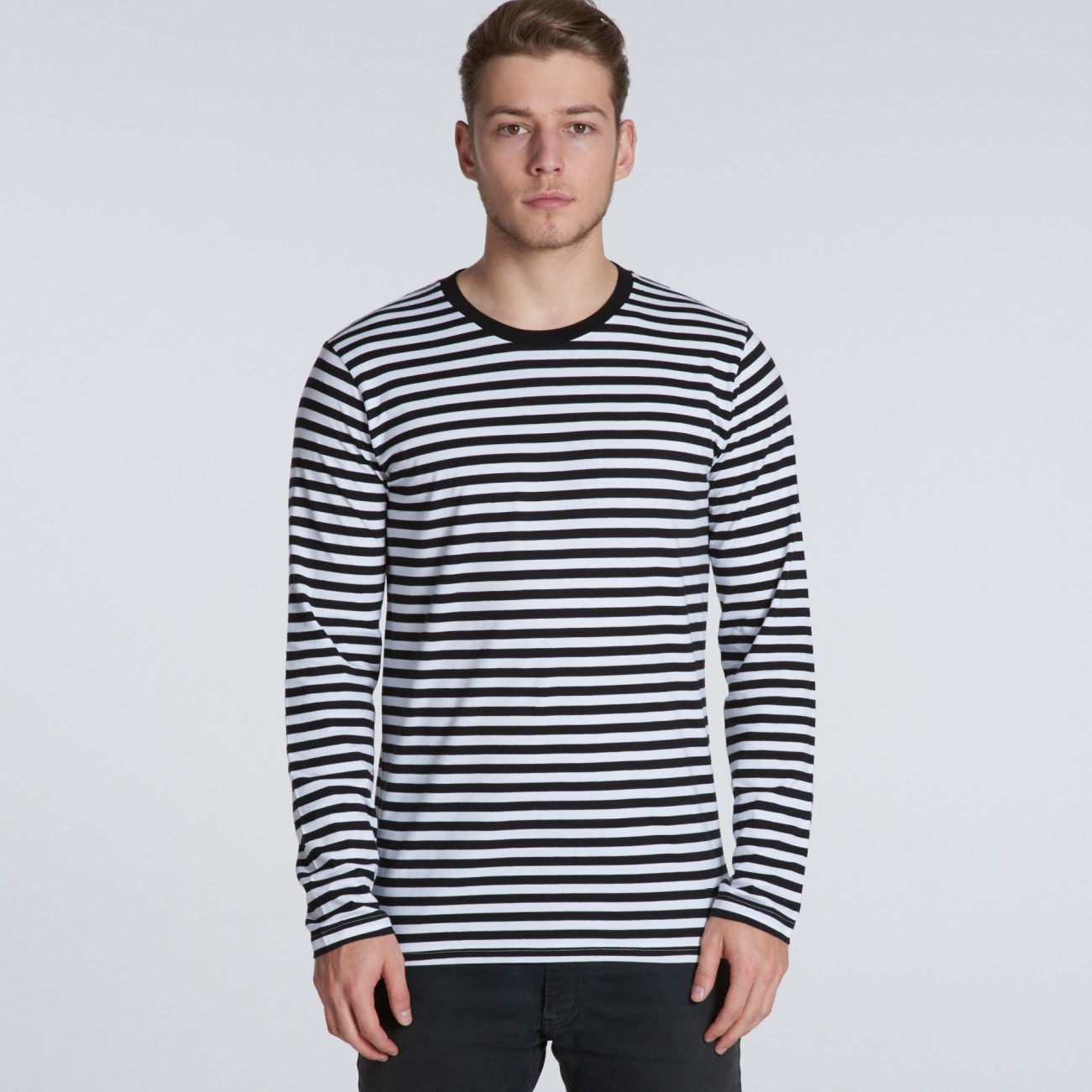 739d8b62ef3 5031 match stripe longsleeve tee front   5031 match stripe longsleeve navy white   5031 match stripe longsleeve grey marle black ...