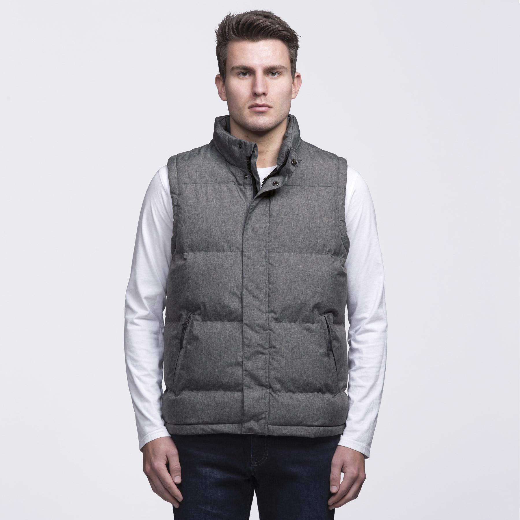T shirt design queenstown - Smpli Mens Grey Melange Basin Puffa Jacket Front