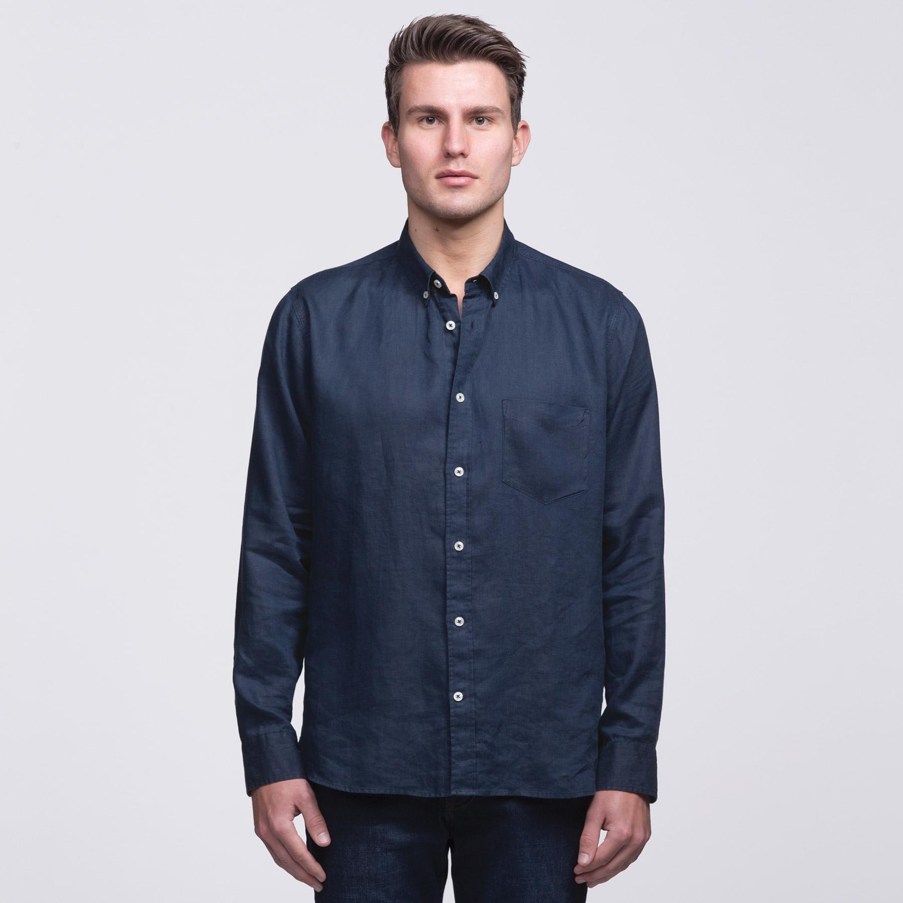 Mens Linen Shirt Siln Impact Print Stitch