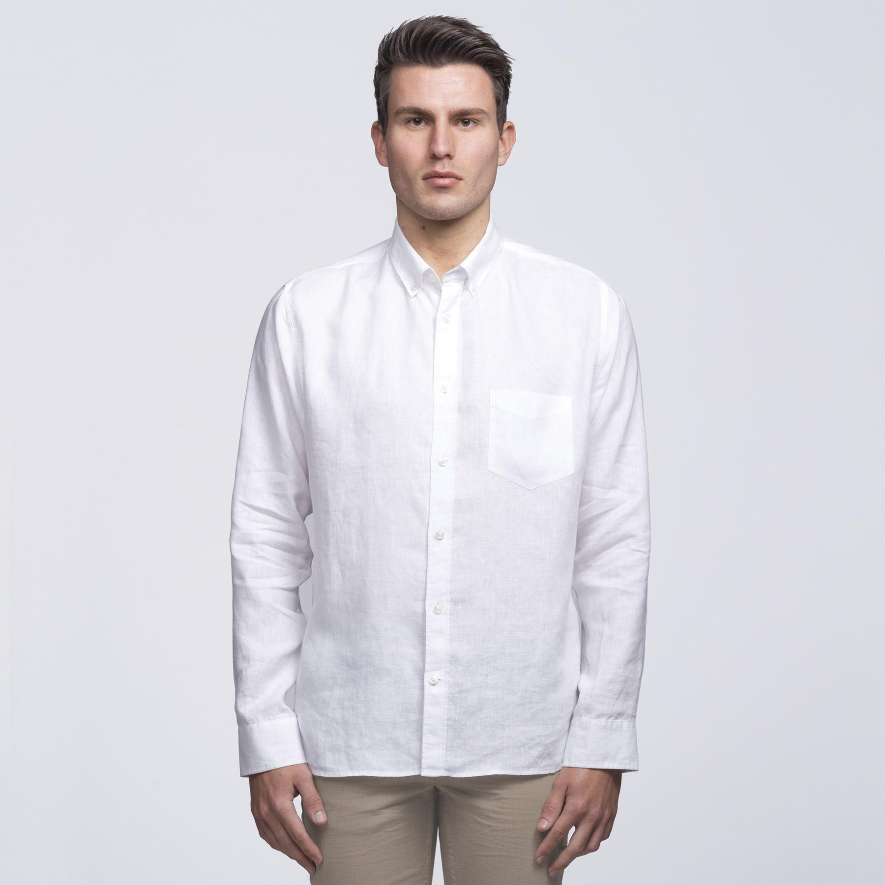 T shirt design queenstown - Smpli Mens White Linen Shirt Front