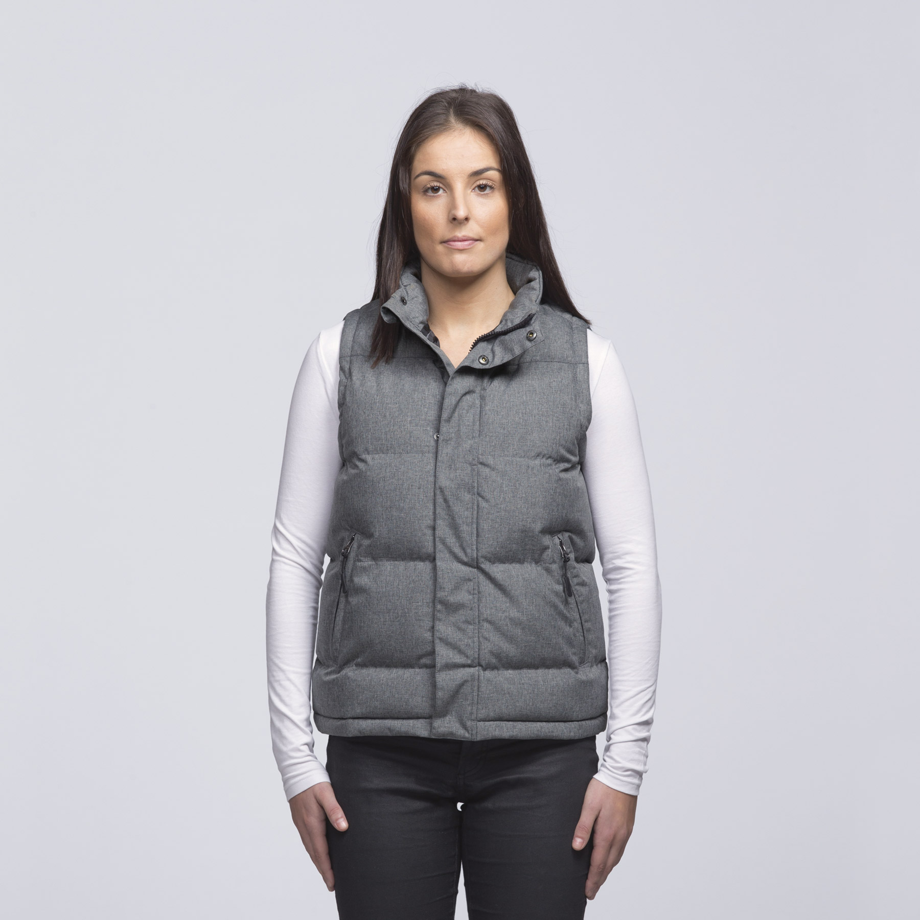 T shirt design queenstown - Smpli Womens Grey Melange Basin Puffa Jacket Front